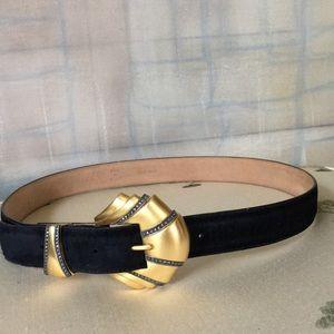 Judith Jack Black Suede Belt w/Gold Tone Buckle